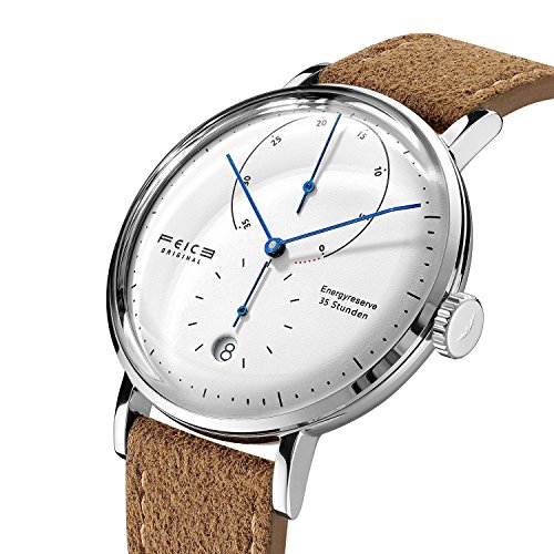 log Automatik Mechanische Uhrwerk mit Braun Lederband Gewölbtes Mineralglas Kalender Minimalistische Bauhaus Armbanduhren-FM202 ()