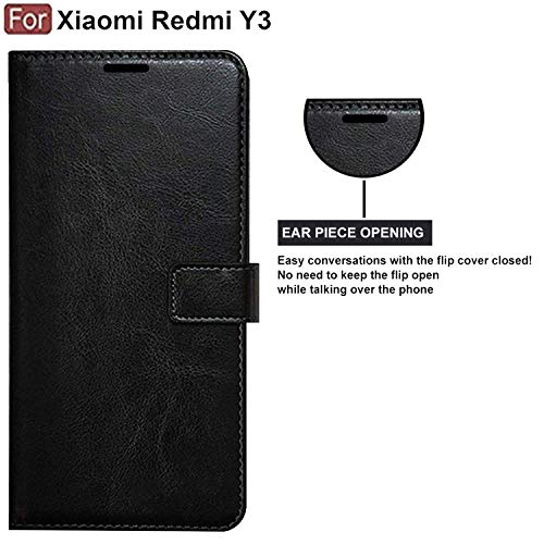 CEDO PU Leather Magnetic Flip Cover Wallet Back Cover Case for Xiaomi Redmi Y3 (Black)