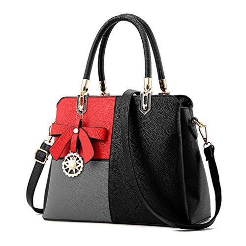 Auspicious beginning Splicing Irregular Color con Bowknot Decorations Borsa per le donne multi-nero
