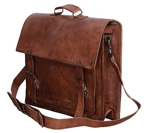 Komal's Passion Leather - Maletín de cuero retro de 45,7 cm (18 pulg