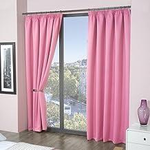 Cortinas rosas Louisiana Bedding con forro cinta poliéster 117x137 cm