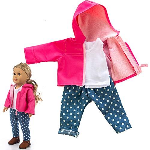 Omiky® Puppen Kleidung Gesetzt, Niedliche Kleidung Jacke Mantel Mädchen Spielzeug für 18 Zoll Puppe Zubehör Gril Spielzeug, Amerikanisches Mädchen Puppenzubehör (Hot Pink) (Kleid Grils Für)