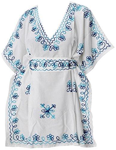 LA LEELA super weiche Rayon Frauen Kimono Badebekleidung Hand Bestickt tiefen Hals beiläufig Plus Größe 4 in 1 Strand-Bikini-Vertuschung Tunika Lounge Basic Kleid Kaftan blau Floren -