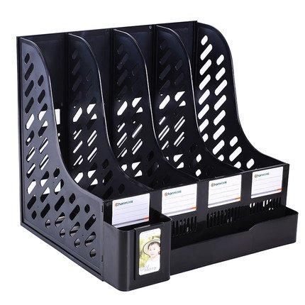 par-d-noir-robuste-quatre-sections-porte-revues-fichier-de-document-intercalaires-meuble-de-rangemen