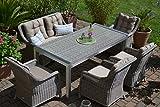 Gartenmöbel Set Tisch, Bank und 4 Sessel Rattan Polyrattan Geflecht