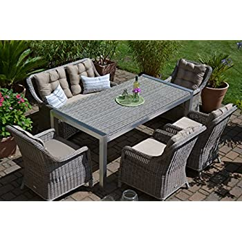 gartenm bel set tisch bank und 4 sessel rattan polyrattan geflecht paris 7 sand grau amazon. Black Bedroom Furniture Sets. Home Design Ideas