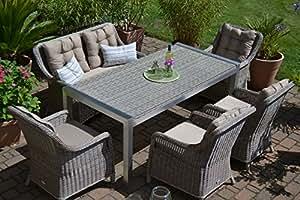 Gartenmöbel Set Tisch, Bank und 4 Sessel Rattan Polyrattan