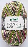 Gründl Wolle 100 Gramm Hot Socks Como 6-fach Superwash Sockenwolle aus 75% Schurwolle 25% Polyamid (08 Pink Grün Mix)