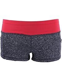 Pantalon Court de Sport de Femme vêtement pour Fitness Gym Short Course Yoga - M, Rouge