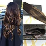 Sunny 3/4 Full Head Clip in Hair Extensions One Piece with 5 clips 100% Remy Human Hair Dark Brown Lowlight Hair Extensions 16