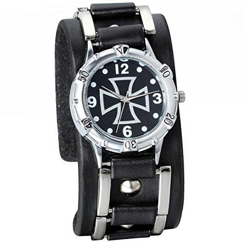 JewelryWe Herren Armbanduhr, Analog Quarz, Fashion Vintage Casual Sport Uhr mit Schwarz Leder Armband & Kreuz Digital Zifferblatt