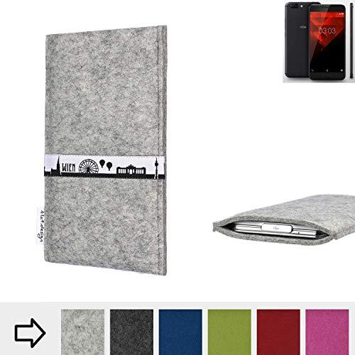 flat.design für NOA H10le Schutz Tasche Handyhülle Skyline mit Webband Wien - Maßanfertigung der Schutz Hülle Handytasche aus 100% Wollfilz (hellgrau) für NOA H10le