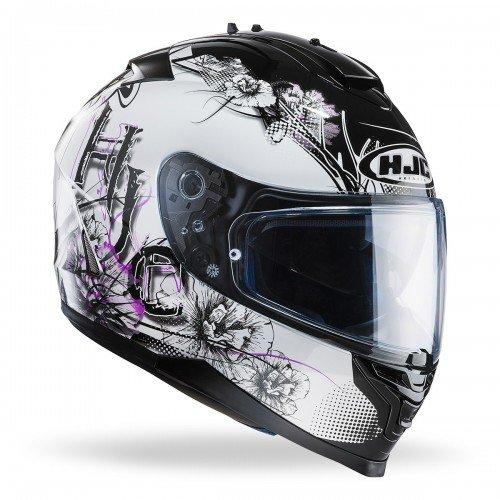 HJC 121331XS Casco Moto, Bianco/Viola, XS