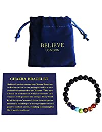 Believe London Chakra Bracelet With Jewellery Bag & Meaning Card   Adjustable Bracelet To Fit Any Wrist   7 Chakra Natural Stone   Healing Reiki Yoga