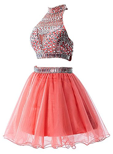 Azbro Women's 2PCS Outfit Short Organza Cocktail Party Gowns Dresses Watermelon Red