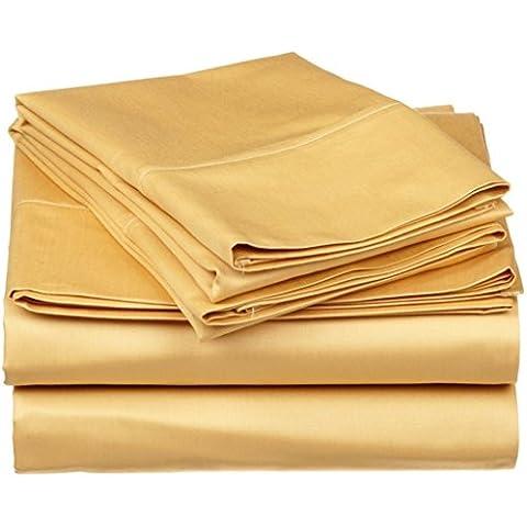 Morbidissimo a 500 fili, in cotone egiziano, 500 TC lenzuolo e lenzuolo superiore Extra-Federa per cuscino, in 100% cotone, finiture italiana