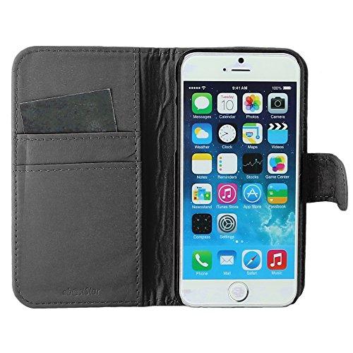 """ebestStar - pour Apple iPhone 6S 6 écran 4.7"""" - Housse Coque Etui Portefeuille Support PU Cuir, Couleur Noir [Dimensions PRECISES de votre appareil : 138.1 x 67 x 6.9 mm, écran 4.7''] Noir"""