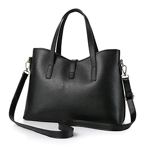 Young & Ming - Donna Borsa a spalla Borsa Tote Borsa a Mano in pelle Handbag Colore puro Bluscuro