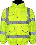 Warnschutzjacke Herren Hi Vis Bomberjacke, gefüttert, Warm, für Winter Jacken mit versteckter Kapuze, alle Größen S bis 6XL