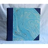 Album Fotografico 35x35 vera pelle marbled paper Rinascimento carta marmorizzata decorata a mano Blu
