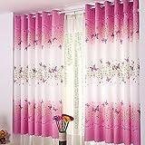 ROKFSCL Abmessungen 200x 100cm Schmetterling Blumen Bedruckt Gardinen Mädchen Raum Vorhang Panels für Schlafzimmer Wohnzimmer Kinder oder Babyzimmer Windows Drapes, Wie abgebildet, 200 x 100cm