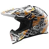 MX437 Fast Crosshelm Glitch weiß schwarz orange XS - Motorradhelm