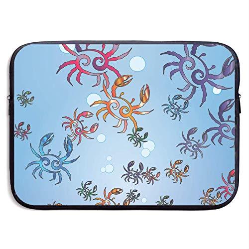Benutzerdefinierte Laptop-Hülle 13/15 Zoll MacBook Reißverschluss Aktentasche Krabben Schwimmen Drucken tragbare Umhängetasche, 13 Zoll