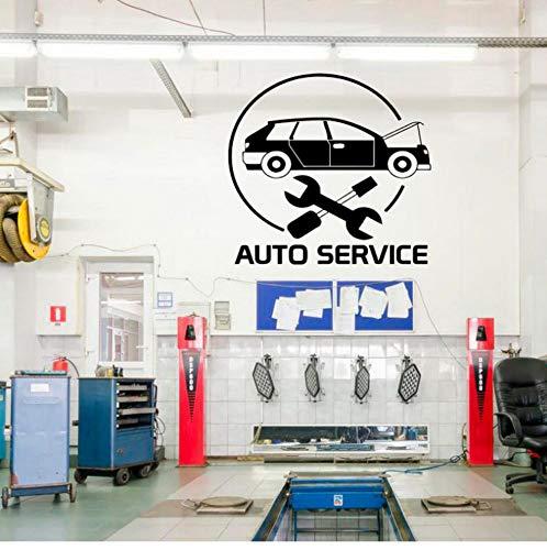 shiyusheng Auto Servizio Vetrofania, Pneumatici, Riparazione, Lavaggio Auto, Parete a Mano Vinile Adesivi Murali autoadesivi Rimovibile Deco 45x42cm