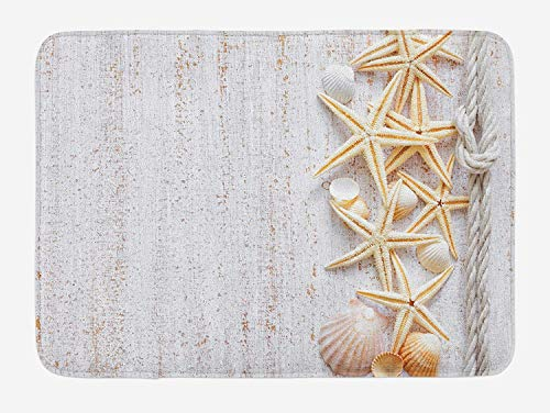Seashells Bath Mat, Seashells and Starfish with Navy Rope in Vertical Direction Wood Surface Ocean Beach, Plush Bathroom Decor Mat with Non Slip Backing, 31.69 X 19.88 Inches, Ivory (Beach Wood Flooring)