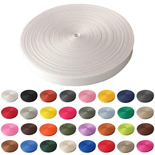 Schnoschi Gurtband Polypropylen 5 Meter lang - viele Verschiedene Breiten und Farben 10mm 15mm 20mm 25mm 30mm 40mm 50 mm (weiß, 15 mm)