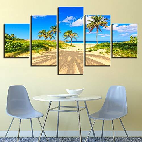 Wandbilder Dekoration Kunst HD Druck 5 Stücke Palm Tree Beach Sonnenschein Blauer Himmel Weiße Wolke Seascape Leinwand Malerei Modular-Frame Fotografie
