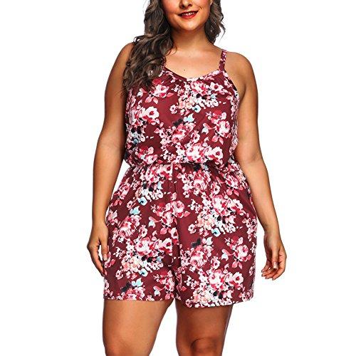 Große Casual Shorts (Lover-Beauty Damen Shorts High Waist Jumpsuit Casual Blumen)