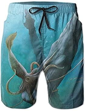 Giant Squid Fights Against Shark Pattern Men's/Boys Casual Shorts Swim Trunks Swimwear Elastic Waist Beach Pants...