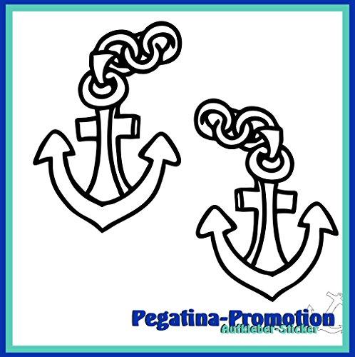 2x Anker Typ1 ca. 30x30 cm Aufkleber aus Hochleistungsfolie - viele Farben zur Auswahl - Angler Angelboot Sticker Boot Boote Beschriftung Bug Heck Fische Angeln Schlauchboot Nautic See Fischer Fischen