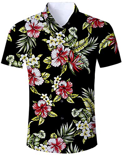 Loveternal Hawaiihemd Flower Kurzarm 3D Shirt Herren Shirt Funky Hawaiian Themed Party Sommer Vintage Kleidung Herren XXL - Hawaiian Vintage Shirt