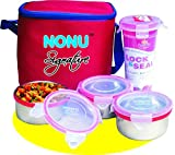 #8: Nonu Signature Tiffin / Lunch Box with 3 Leakproof Airtight Food Grade Stainless Steel Containers with Lock & Seal Tumbler