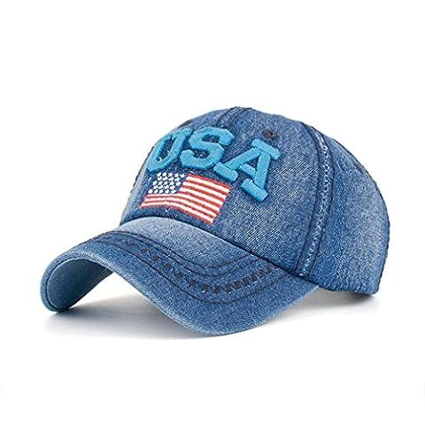 Casquette,Kolylong 2017 Femmes Hommes USA Flag Denim Rhinestone Baseball Cap Snapback Hip Hop Flat Sun Hat pour vacances d'été (A)