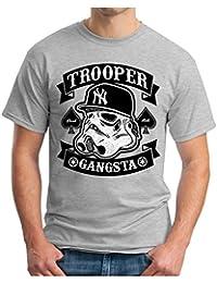 OM3 - TROOPER-GANGSTA - T-Shirt Hip Hop STORMTROOPER Gangster Rapper RnB THE FORCE EMO GEEK, S - 5XL