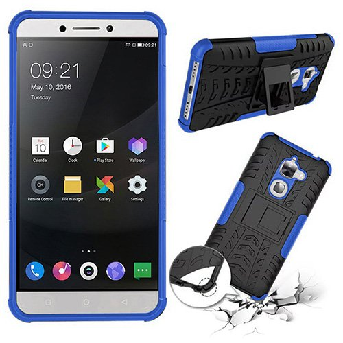 Noise Dual Layer Protection TPU and PC with In-Built Kickstand Shockproof Protective Hybrid Back Case Cover for Letv Leeco Le2 (Blue)