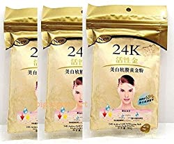 24K Gold Mask 3 Packs : 24K Gold Active Face Mask Powder 50g Brightening Luxury Spa Anti Aging Treatment