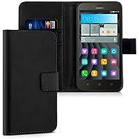 kwmobile Hülle für Huawei Y625 - Wallet Case Handy Schutzhülle Kunstleder - Handycover Klapphülle mit Kartenfach und Ständer Schwarz
