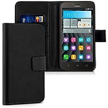 kwmobile Custodia portafoglio per Huawei Y625 - Cover a libro in simil pelle Flip Case con porta carte funzione appoggio nero