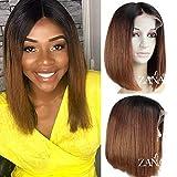 Zanawigs 7A Brésilien vierges Cheveux humains courte Bob Perruque lace front pour femme noire droites Bob Coupe Perruques 130% Densité Ombre Couleur...