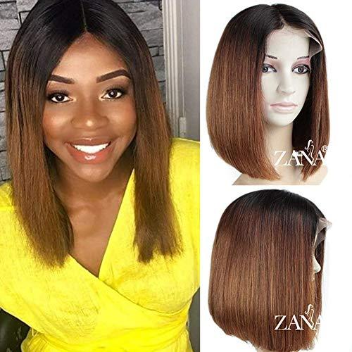 zanawigs 7A Brazilian Virgin Echthaar kurze Bob Lace Front Perücken für schwarz Frauen Gerade BOB Schnitt Perücken 130% Dichte Ombré -