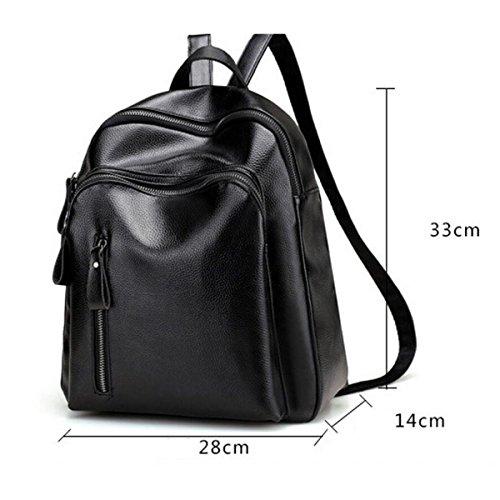 Leder Schulrucksack Wasserdichte Casual Daypack,Black Black