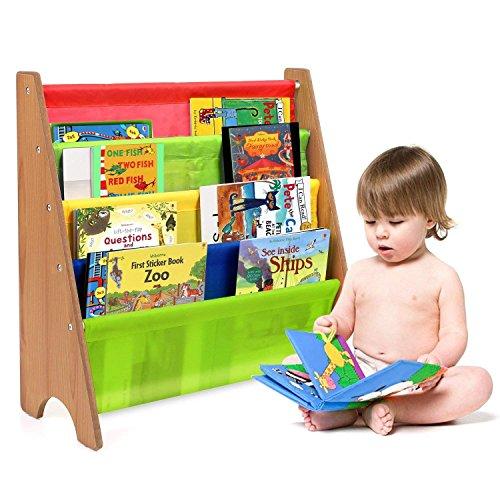 HOMFA Libreria Bambini Scaffale Porta Libri, 5 Ripiani Mensola in Legno e Tessuto Posteriore, Ecologico e Robusto 62 × 26.5 × 61cm (Multicolori)
