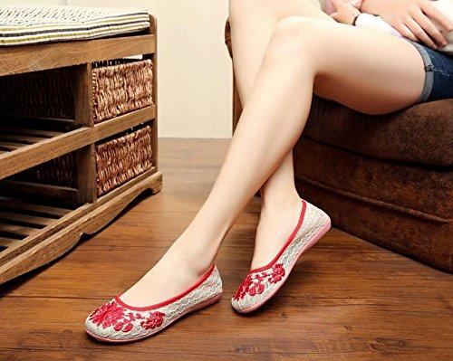 &QQ Chaussures brodées, lin, semelle de tendon, style ethnique, chaussures féminines, mode, confortable Red
