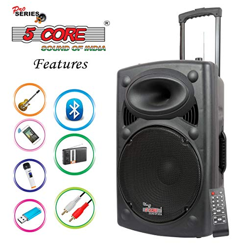 "5 Core 15"" Active Portable Powered Loudspeaker with 1 Digital Wireless Mike, 1 Head Mic, Full Function Remote Control"