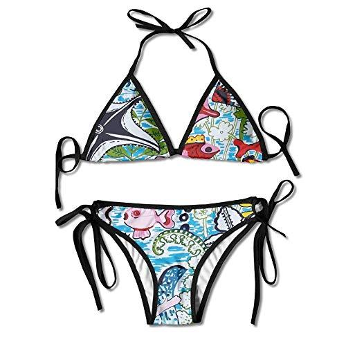 Women's Sexy Bikini Set Mermaids and Fish Custom Tie 2 Piece Bikini Suits Pushed Up Bathing Swimwear