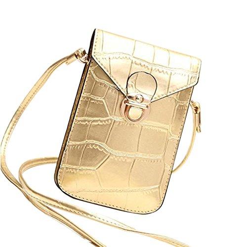 HeHe PU Leder Mini Handytasche Kleine Umhängetasche mit Vielen Fächern für Damen Mädchen Passt iPhone 7 Plus - Gold (Vuitton Louis Mini Tasche)